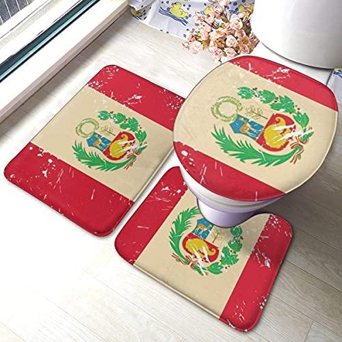 Velorest Vintage Bandera de Perú Alfombras de baño de franela suave antideslizante Juego de alfombrillas de baño de 3 piezas Alfombra de baño súper absorbente + Alfombra de contorno en forma de U + Ta