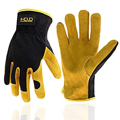 Men Work Gloves for Gardening, Mechanics, Construction, Driver, Cowhide Leather Palm, Dexterity Breathable Design XL