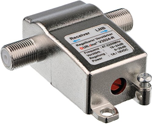 DUR-line® V3024-R - Regelbarer Inline Verstärker, Verstärkung 24 dB, für Sat und DVB-T2, 47-2200 MHz