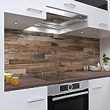 One-Wheel   selbstklebende Küchenrückwand   60x50 cm harte PVC Folie   Wandtattoo für Fliesenspiegel Design Holz Braun   Motiv: Holzrückwand