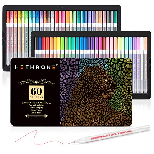 60 Unique Colors with 60 Refills for Adults Coloring Books Drawing Doodling Crafts Scrapbooking Journaling Shuttle Art 120 Pack Gel Pen Set Packed in Metal Case Gel Pens