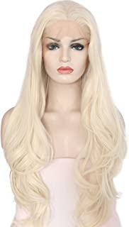 eNilecor Platinum Blonde Lace Front Wig Natural Long Wavy Glueless Synthetic Fiber Hair Replacement Wigs for Women 24inch