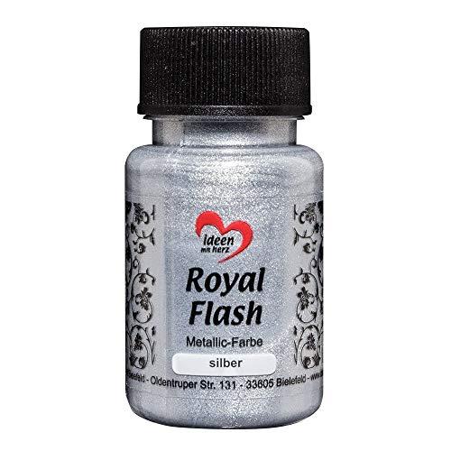 Colore acrilico metallico'Royal Flash' con riflessi metallici e particelle glitterati fini   Vernice brillante metallizzata per gagliette   50 ml (argento)