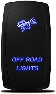 MICTUNING 5pin Off-Road Lights Rocker Switch ON-OFF Dual backlit LED Blue for Off-road SUV Truck Pickup Boat Caravan