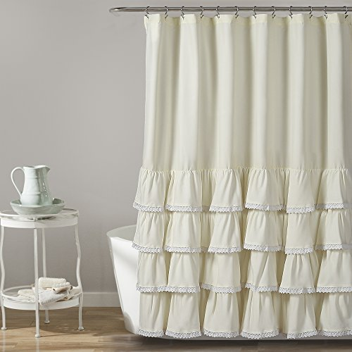 "72""x72"" Ella Ruffle Detailed Shower Curtain Ivory - Lush Décor"