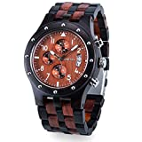 Bewell 木製腕時計 メンズ ウッドウォッチ アナログ腕時計 メンズ クロノグラフ機能 カレンダー付き 夜光 誕生日プレゼント 贈り物 (黒檀と赤檀)