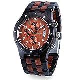 Bewell W109D Men's Wooden Watch Quartz Movement Date Display Luminous Sports Wristwatch