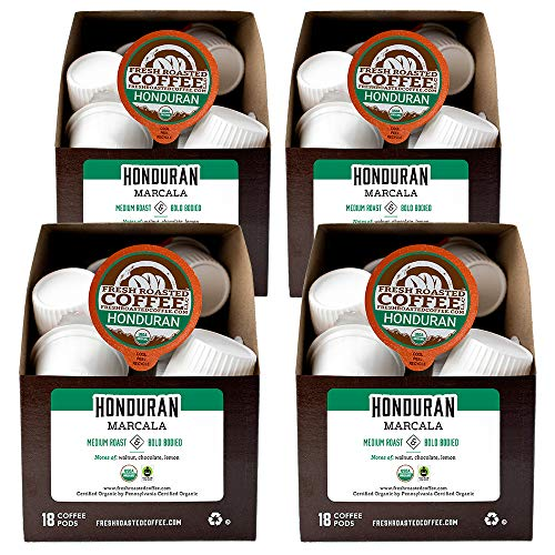 Fresh Roasted Coffee, Organic Honduran Marcala, Fair Trade Kosher, K-Cup Compatible, 72 Pods