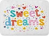 AdaCrazy Sleepover Sweet Dreams Enfants Pyjama De Bande Dessinée Note Monde Fond Motif Flanelle Tapis De Bain Tapis De Bain Empêcher Le Passage Super absorbant Impression 3D 60x40cm