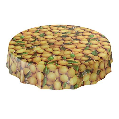 ANRO Nappe en toile cirée ronde - Jaune citron - 140 cm