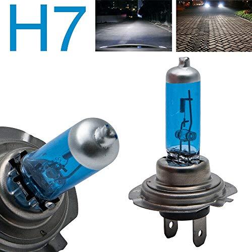 Riloer Faros Delanteros de Coche H7, Bombillas de Globo de Conversión LED de 12V 100W Haz 8500K, Interruptor de Noche de Faros Halógenos Luminosos