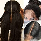 100% Brazilian Human Hair Full Lace Wigs Glueless Long Straight Free Part Lace Wig with Baby Hair Pre Plucked for Black Women 10inch,Natural 1B Black 130% Density