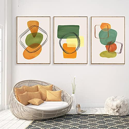 Multicolor Lienzo Impresiones Abstracto Arte de Pared Formas Geométricas Cuadros de Pared Cartel Verde Decoración del Hogar Pintura para Dormitorio 40X50cmX3 Sin Marco