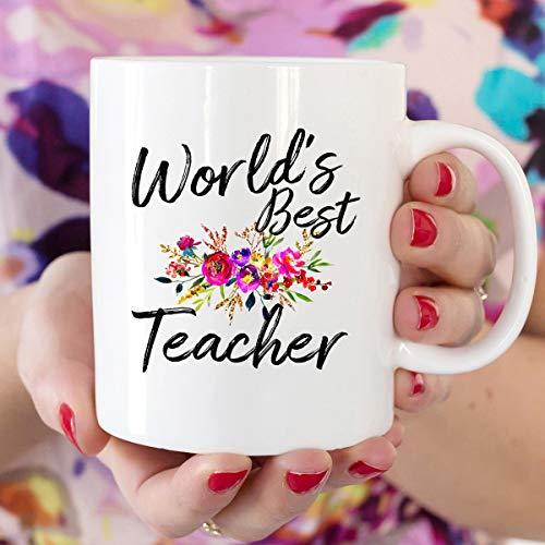 Taza de cerámica para profesores de fin de año, taza de café del mundo con el mejor maestro de vuelta a la escuela, taza de té de 11 onzas
