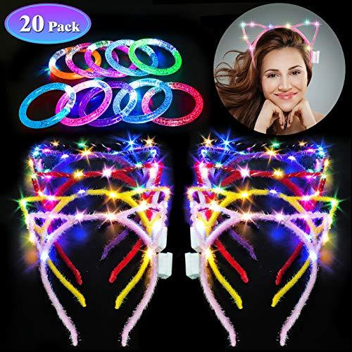 Danolt 20 piezasJuego de Fiesta, 10 Diademas de Orejas de Gato LED con 10 brazaletes Brillantes de Color Claro para Mujeres, niñas, Accesorios para el Cabello, cumpleaños, Despedida de Soltera