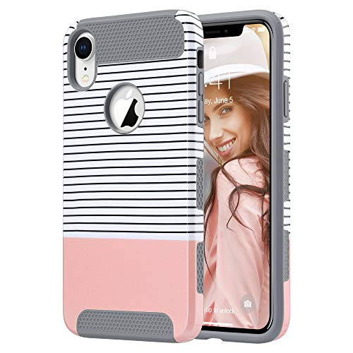 ULAK iPhone XR Case, Slim Hybrid Hard PC Shell Shockproof Phone Case for Women, Anti-Scratch Protective Bumper Cover for iPhone XR 6.1 Inch, Rose Gold Minimal