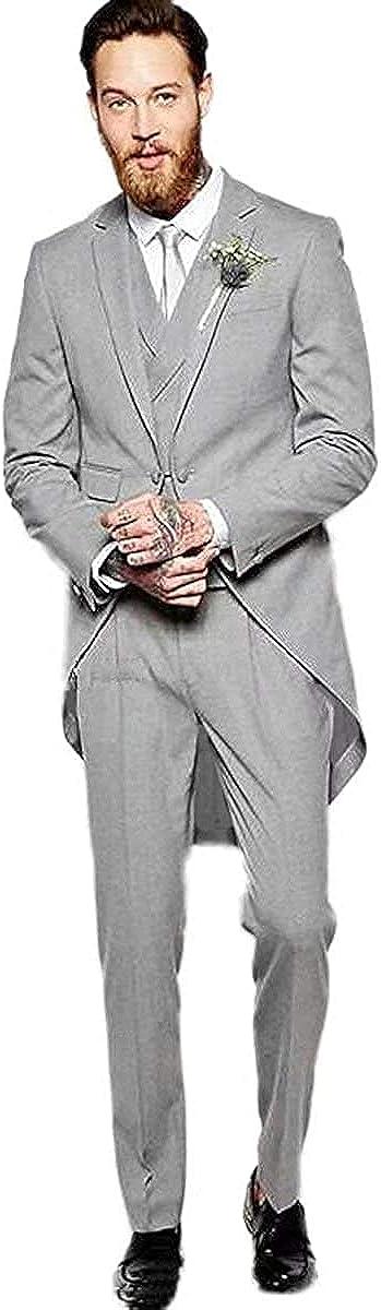 Furuyal Retro Men Suits Tailcoat 3 Pieces Prom Evening Suits Wedding Groom Tuxedos Jacket+Vest+Pant