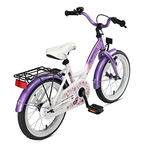 Bikestar Vélo Enfant pour Garcons et Filles DE 4-5 Ans ★ Bicyclette Enfant 16 Pouces Classique avec Freins ★ Violet & Blanc