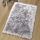 Noahas Luxury Fluffy Rugs Bedroom Furry Carpet Bedside Faux Fur Sheepskin Area Rugs Children Play Princess Room Decor Rug, 2ft x 3ft, Grey
