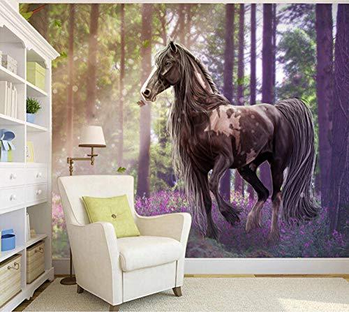Kundenspezifische Pferdetapeten Waldpferdewandbilder Für Die Wohnzimmer Fernsehhintergrundwand GewebeTapeten,400Cmx280Cm