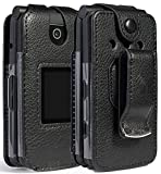 Case for Coolpad Snap Phone, Nakedcellphone [Black Vegan Leather] Form-Fit Cover with [Built-in Screen Protection] and [Metal Belt Clip] for Coolpad Snap Flip Phone (3312A/3311A)
