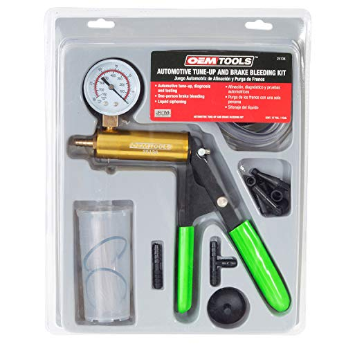 OEMTOOLS 25136 One Man Brake Bleeder & Vacuum Pump Test Kit | Useful Tool for Automotive Tune-Ups, Diagnosis, & Testing, One-Man Brake Bleeding & Liquid Syphoning | Hand Pump is Precise & Powerful