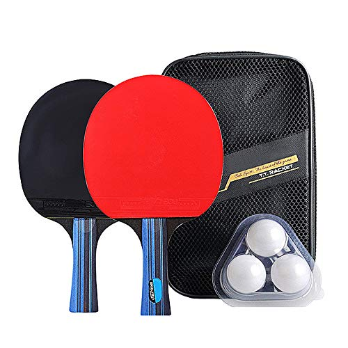 Mintice 2 Raqueta de Ping Pong Tenis de Mesa Profesional Paleta Ping Pong Juego de Palo Bate con 3 Pelotas y Estuche Tenis de Mesa