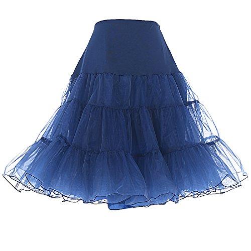 DRESSTELLS Damen 1950er Vintage Rock Rockabilly Petticoat Reifrock Unterrock für Rockabilly Kleid Navy S
