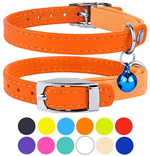 """CollarDirect Leather Cat Collar, Cat Safety Collar with Elastic Strap, Kitten Collar for Cat with Bell Black Blue Red Orange Lime Green (Neck Fit 6""""-7"""", Orange)"""