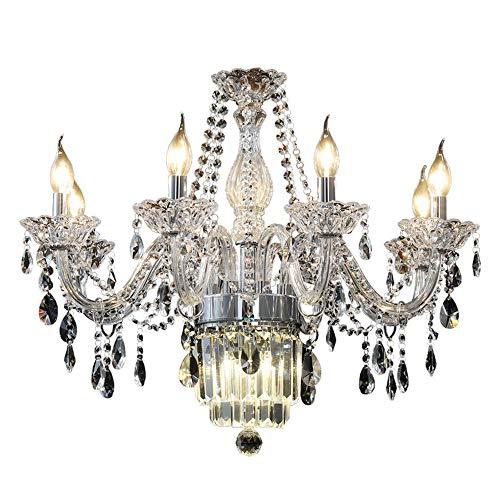 KK Gabby Estilo Europeo LED De Cristal Lámpara De Techo Vela Luz De Cristal Araña Villa Hotel Comedor Sala De Estar De Lujo E14 8 Bombillas 70 * 70 * 55