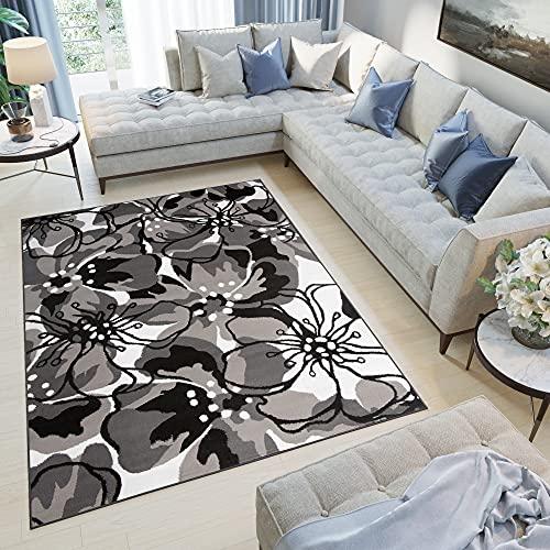 TAPISO Collezione Maya Tappeto Casa Moderno Sala Salotto Soggiorno Camera da Letto Grigio Motivo Floreale A Pelo Corto 120 x 170 cm