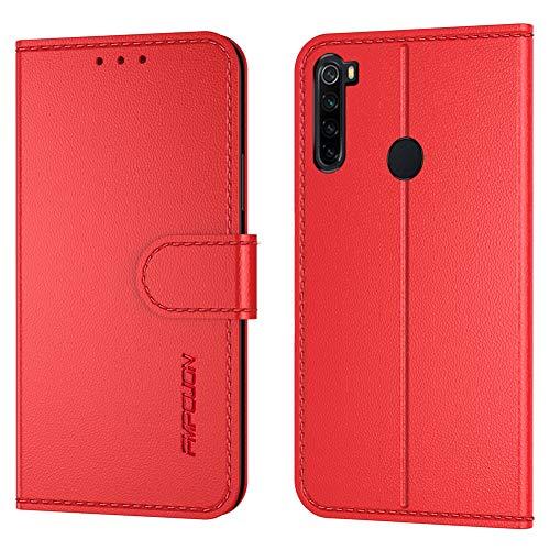 FMPCUON Handyhülle Kompatibel mit Xiaomi Redmi Note 8T(Neueste),Premium Leder Flip Schutzhülle Tasche Hülle Brieftasche Etui Hülle für Xiaomi Redmi Note 8T(6,3 Zoll),Rot