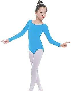furein Maillot de Danza Ballet Gimnasia Leotardo Body Clásico Elástico para Niña de Manga Larga Cuello Redondo (4 años, Azul Claro)