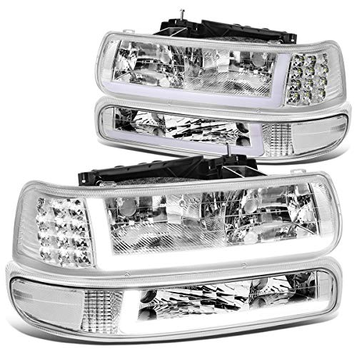 DNA Motoring HL-LB-CSIL99-CH-CL1 Pair LED DRL Headlight Bumper Lamps