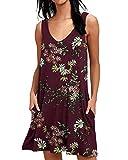 ABINGOO Mujer Vestido Casual Estampado Floral sin Mangas Verano con Bolsillos Cuello V Boho Playa Dress,Rojo Vino,2XL=EU 46-48