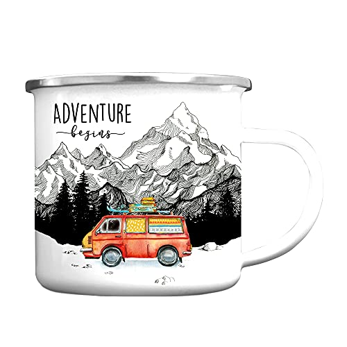 Wandtattoo Loft Tasse Emaille Campingbecher Adventure Begins roter Bus Berge/silberner Becherrand