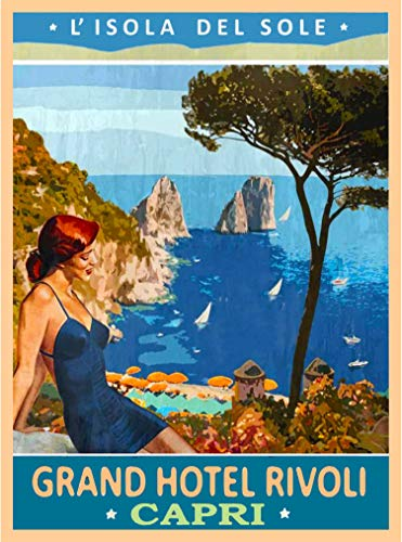 A SLICE IN TIME L' Isola Del Sole Capri Napoli Italy Vintage Travel Home Collectible Wall Decor Advertisement Art Poster Print. 10 x 13.5 inches