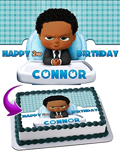 The Boss Baby African American Edible Image Cake Topper Party Personalized 1/4 Sheet