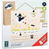 Small Foot 11625 Lerntafel Educate aus FSC zertifiziertem Holz zum Lernen von Uhrzeit, Wetter, Wochentagen UVM, ab 3 Spielzeug