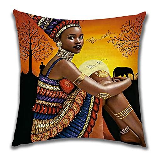 Funda de Cojín Ropa de Cama Cuadrado con la Cremallera Invisible Funda de Almohada del Sofá Decorativos para Cama Coche Hogar Mujer Negra Sana Sin Relleno 45x45cm