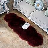 JIWIDO Soft Faux Fur Area Rug Sheepskin Shape Rug Decorator Carpets Kids Play Rug Soft Fluffy Rugs for Living Room Floor Girls Room Sofa Home Decor Carpet 2'x6' (Wine red)