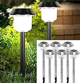 Solar Lights Outdoor Pathway Decorative Garden Large Bright White LED Stake Light Set Decorations Waterproof Path Landscape Lighting Yard Decor Driveway Stakes for Outside Walkway 6Pack