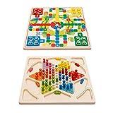 PETSOLA 2 Sets Juego De Madera Juego De Damas Chinas Flying Chess Game Toy