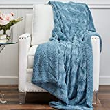 The Connecticut Home Company Soft FluffyFaux Fur Bed Throw Blanket, Luxury Sherpa Reversible Blankets, Comfy Plush Washable Accent Throws for Sofa, Couch, Fuzzy Home Bedroom Decor,65x50, Slate Blue