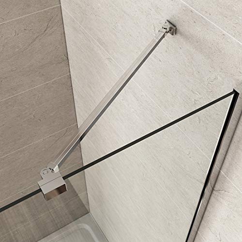 Haltestange für Duschwand Stabilisator mit Winkel flexibel 180° Drehbar für Glasstärke 5-6 mm, Stabilisierungsstange für Duschen Edelstahl Chrom (582mm, 1 Stück)