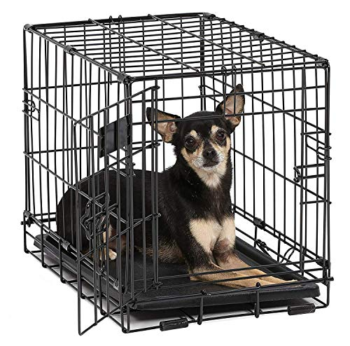 Dog Crate   MidWest ICrate XXS Folding Metal Dog Crate w/ Divider Panel, Floor Protecting Feet & Leak Proof Dog Tray   18L x 12W x 14H Inches, Toy Dog Breed, Black