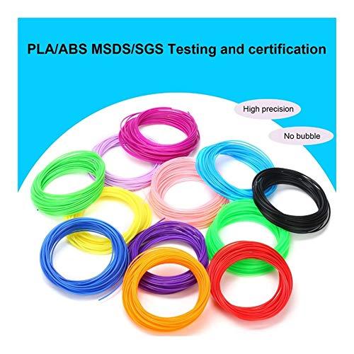 Love lamp Impresora 3D de filamentos 5mX10 / 20 Colores/Set plásticos for 3D Pen PLA/ABS/PCL 1,75 mm Impresora filamento Materiales de impresión Accesorios Extrusora (Color : PCL 20 Color)