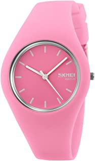 TONSHEN Simple Fashion Analog Quartz Watch Rubber Band Casual Style Wrist Watches for Women Girl 12 Colours (Pink)