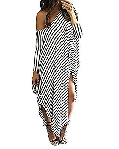 Kidsform Women Maxi Dress Striped Long Dresses Casual Loose Kaftan Oversized Round Neck Sundress 3/4 Sleeve-Stripe S