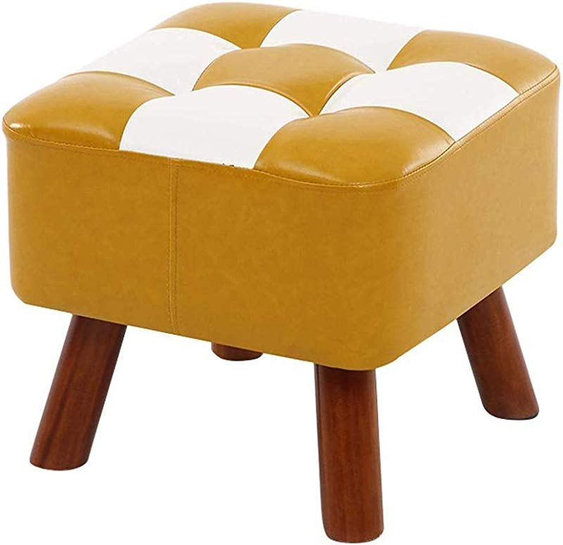 TOGARR Foot Stool Footstools PU Leather Seatting Square Footrest Upholstered Change Shoe Stool Dressing Stool With Wooden 4Legs